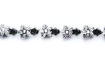 Beaded Medical Bracelets Silver Flowers Black Crystals 0422