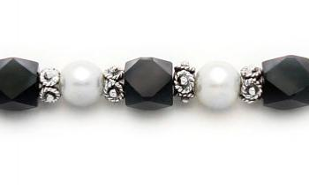 Designer Bead Medical Bracelets Fancy Black-White 0581