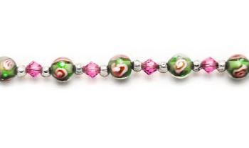 Beaded Medical Bracelets Pink Rose in Green II 1373