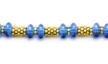 Designer Bead Medical Bracelets Blue Blast in Gold 1376