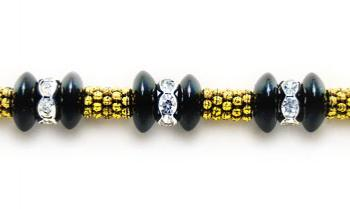 Designer Bead Medical Bracelets Onyx Golden Rope 1377