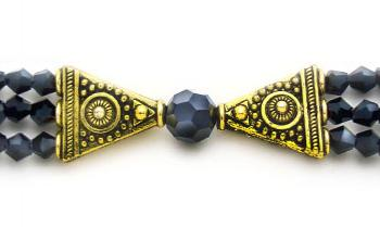 Designer Crystal Medical Bracelets Black Jet on Golden Wings 1378