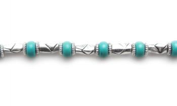 Beaded Medical Bracelets Southwest Barrels Aqua 1513