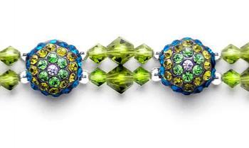 Rhinestone Medical Bracelets Delightful Domes-Green 1876