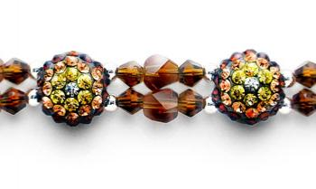 Rhinestone Medical Bracelets Delightful Domes-Brown 1877