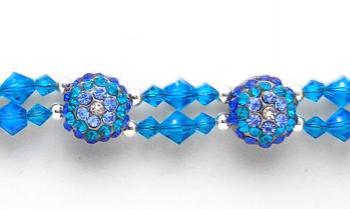 Rhinestone Medical Bracelets Delightful Domes-Blue 1879