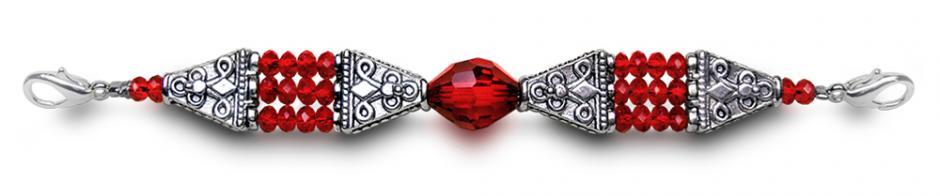 Designer Bead Medical Bracelets Shimmering Red 0113