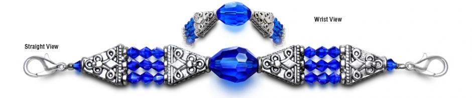 Designer Bead Medical Bracelets Shimmering Blue 0114