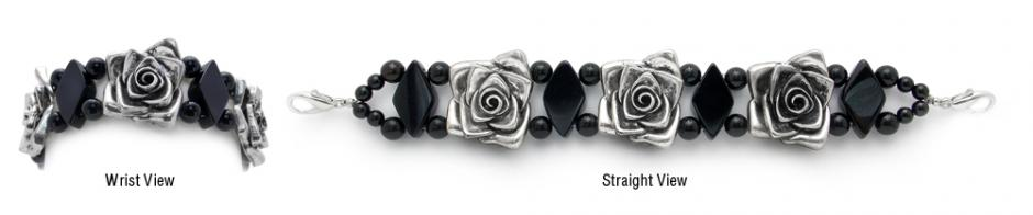 Designer Bead Medical Bracelets Silver Rose 0188