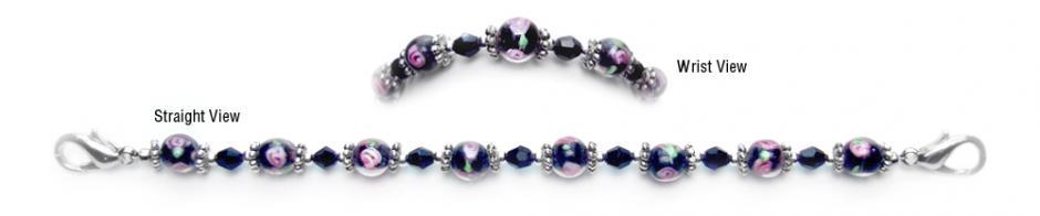 Designer Bead Medical ID Bracelets Pink Rose in Black 0254