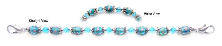 Designer Bead Medical Bracelets Pink Rose in Turquoise 0255