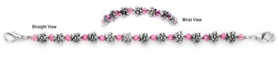 Designer Bead Medical Bracelets Flowers and Crystals 0420