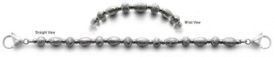 Designer Bead Medical Bracelets Silver Ribs 0538