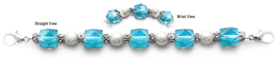 Designer Bead Medical Bracelets Fancy Aqua and White 0544