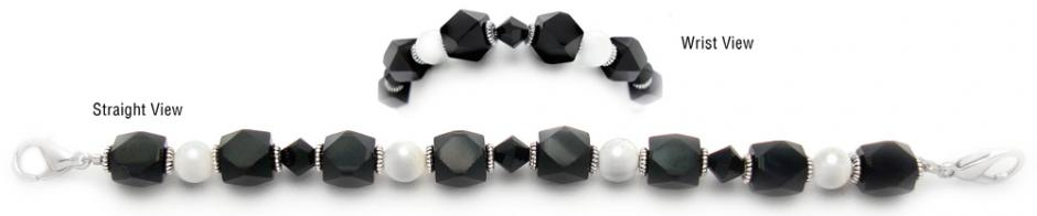 Designer Bead Medical Bracelets Fancy Funky Black-White 0580