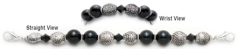 Designer Bead Medical Bracelets Black Herringbone 0582