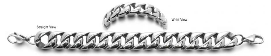 Designer Stainless Medical Bracelets Acciaio Lucido 0585