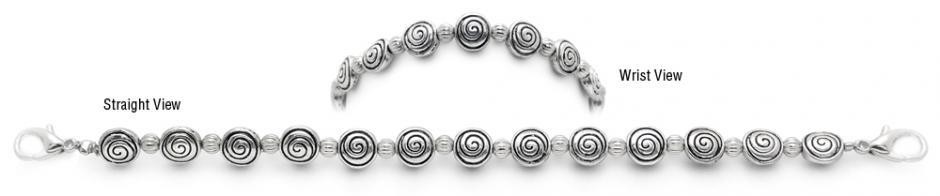 Designer Bead Medical Bracelets Swirly Fun Silver 0588