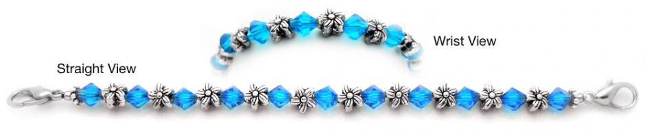 Designer Bead Medical Bracelets Silver Flowers 0596
