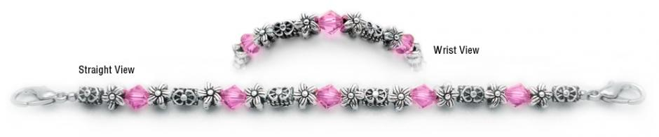 Designer Bead Medical Bracelets Floral Medley in Pink 0606