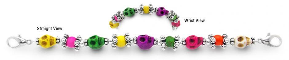 Designer Bead Medical Bracelets Dia de los Muertos 0611