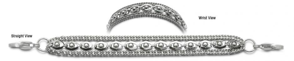 3-Strand Stainless Medical Bracelet Sofisticato 0647