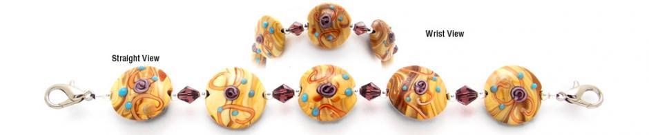 Designer Bead Medical Bracelets Purple Rose of Summer 0668