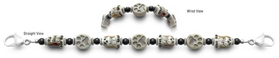 Designer Bead Medical ID Bracelets Puppy Paws 0726