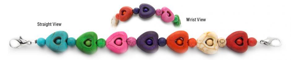 Designer Bead Medical Bracelets Rainbow Hearts 0775
