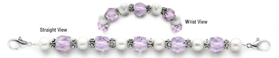 Designer Bead Medical Bracelets Fancy Purple-White 07910