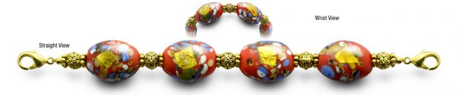 Designer Bead Medical ID Bracelets Royal Red 0859