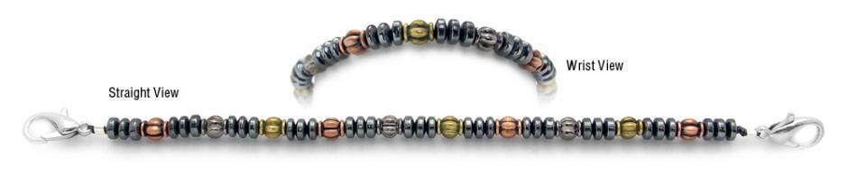Designer Bead Medical Bracelets Petite Discs Tri-Color 0956