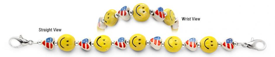 Designer Bead Medical Bracelets Patriot Smiles 0978