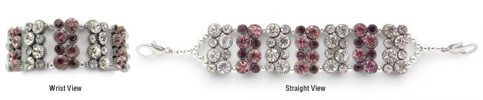 Designer Rhinestone Medical Bracelets Purple Bling 1144