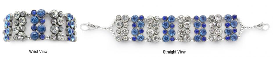 Designer Rhinestone Medical Bracelets Blue Bling 1146