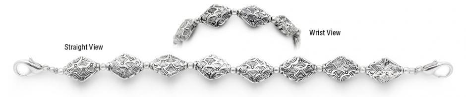 Designer Bead Medical Bracelets Silver Clouds 1283