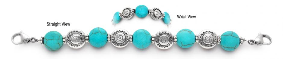 Turquoise Beaded Medical ID Bracelet 1346 Navajo Sun