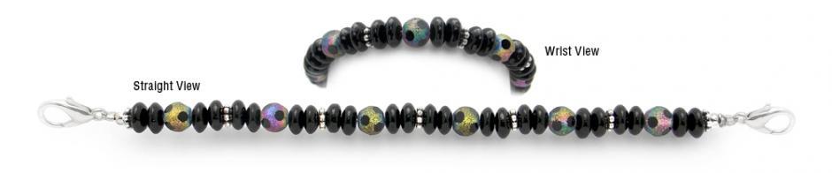 Designer Bead Medical Bracelets Black Rainbow 1524