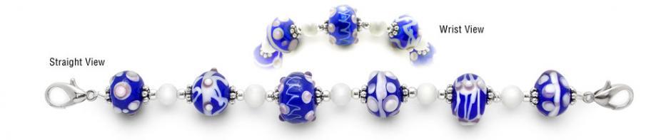 Designer Bead Medical ID Bracelets - Blue Marble 1584