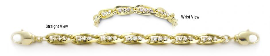 Designer Diamond-Gold Medical Bracelets Tritalia Oro 1731