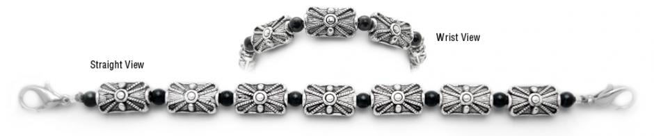 Beaded Medical Bracelets Generations with Silver and Onyx 1806