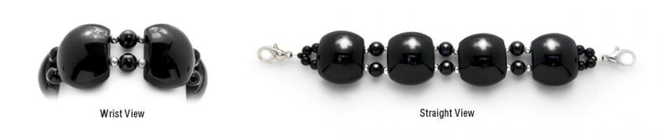 Designer Bead Medical Bracelets Cats Eye Black 1812