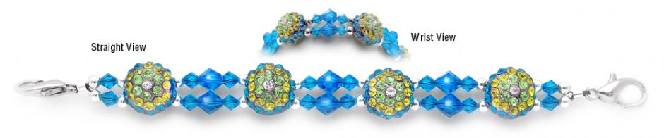 Beaded Medical Bracelets Delightful Domes-Aqua 1890