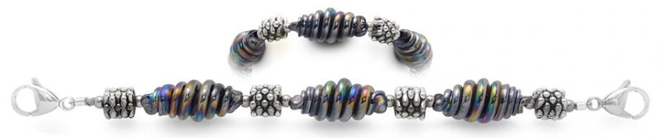 Designer Bead Medical Bracelets Glazed Coil Sculpture 1900