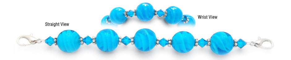 Designer Bead Medical Bracelets Spiraling Out in Aqua 1920