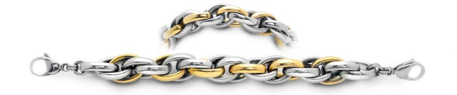 Designer Gold & Stainless Medical Bracelet Dorato Corteccia 1922