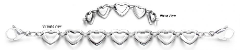 Designer Stainless Medical ID Bracelet Serie di Cuori 1947