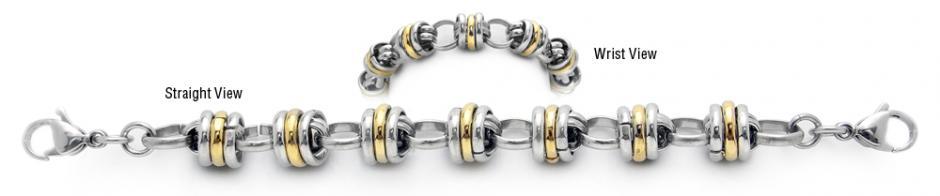 Designer Gold & Stainless Medical Bracelets Forte Fascia di Oro 1954