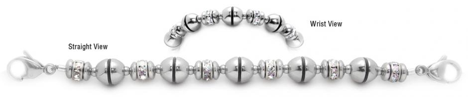 Designer Stainless and Diamond Bead Medical Bracelets Past the Moon 2000