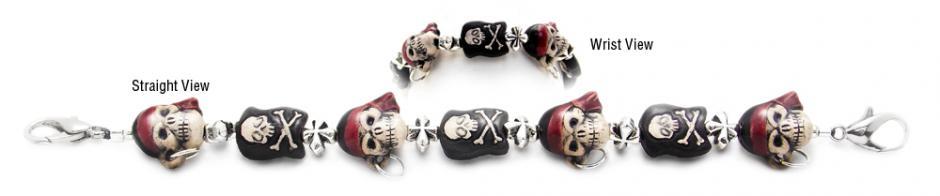 Designer Beaded Medical ID Bracelets Jolly Roger 2031